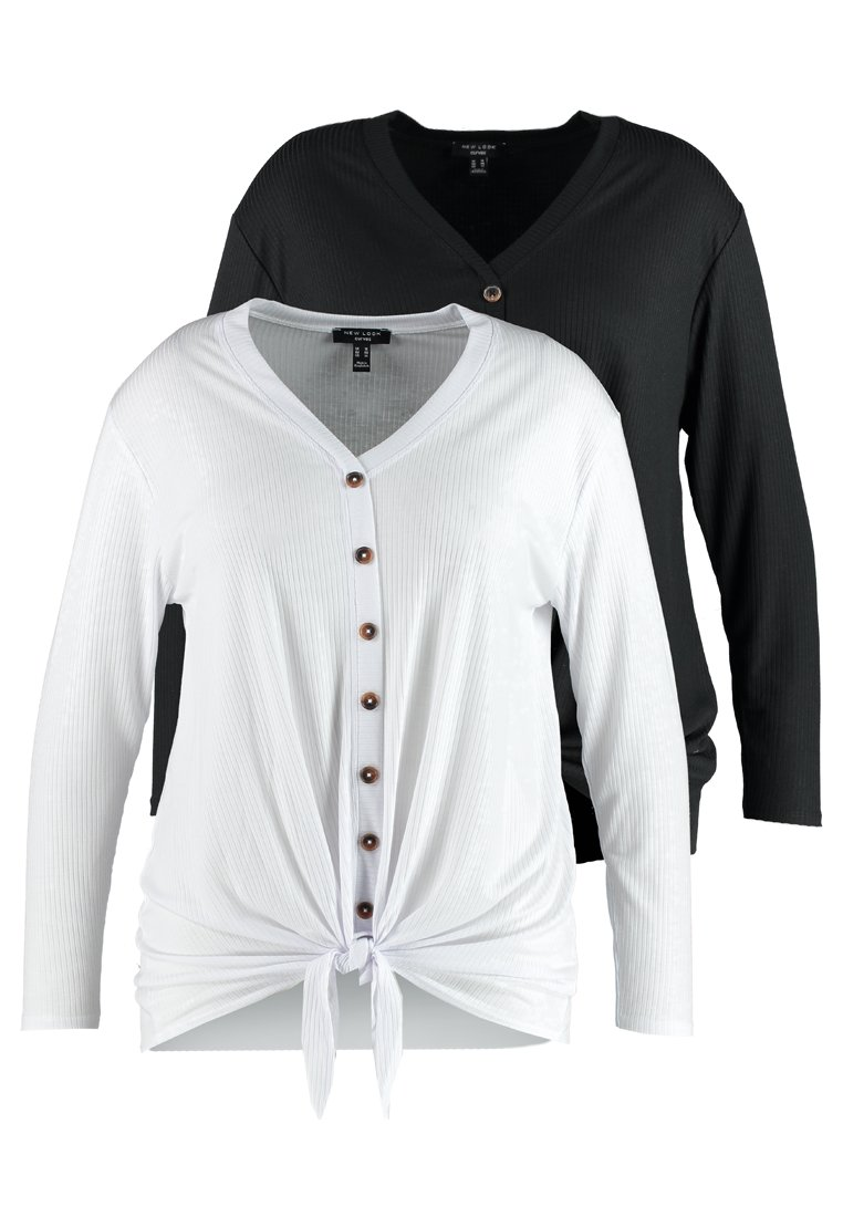 New Look Curves - 2 PACK BUTTON THROUGH TIE FRONT  - T-shirt à manches longues - black/white