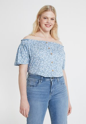 BUTTON THROUGH BARDOT - T-shirts med print - blue
