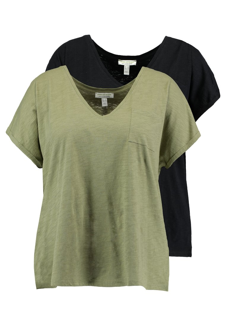 New Look Curves - ORGANIC V NECK POCKET TEE 2 PACK - Basic T-shirt - black/khaki