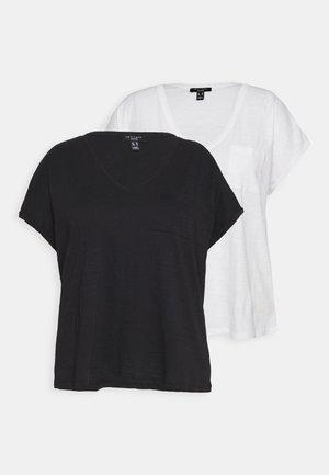 ORGANIC V NECK POCKET TEE 2 PACK - Basic T-shirt - black/white