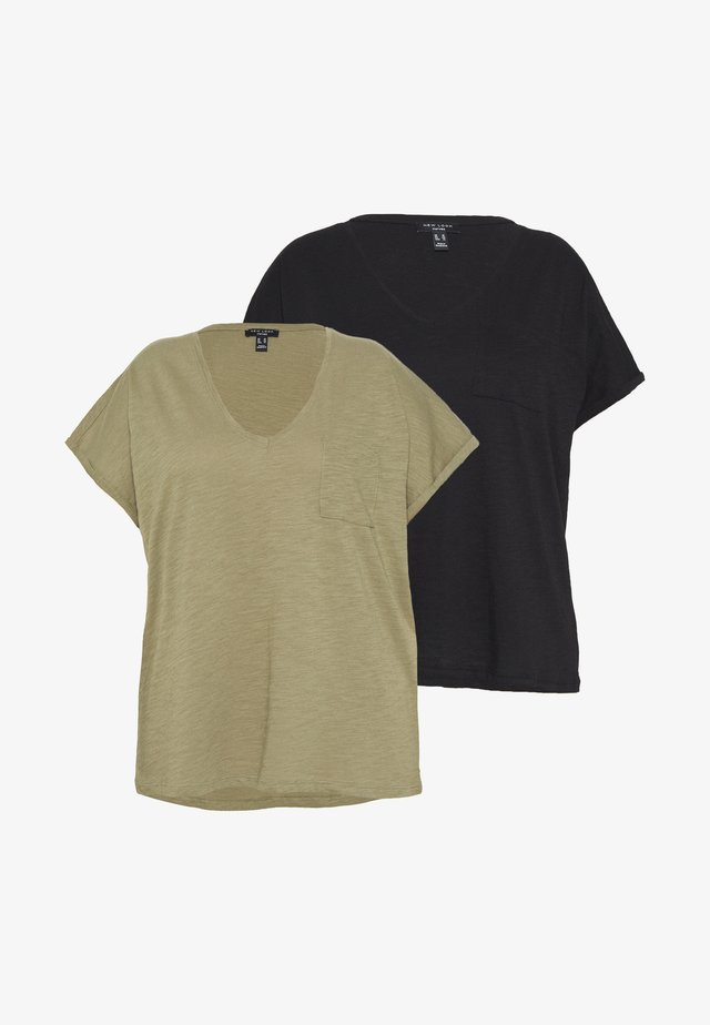 ORGANIC V NECK POCKET TEE 2 PACK - T-paita - black/khaki