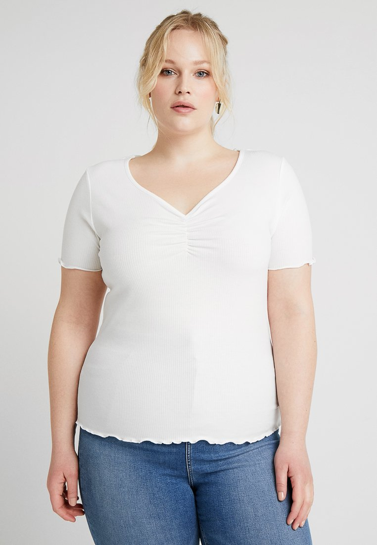 New Look Curves - CURVES LETTUCE ROUCHED FRONT - T-shirt basique - white