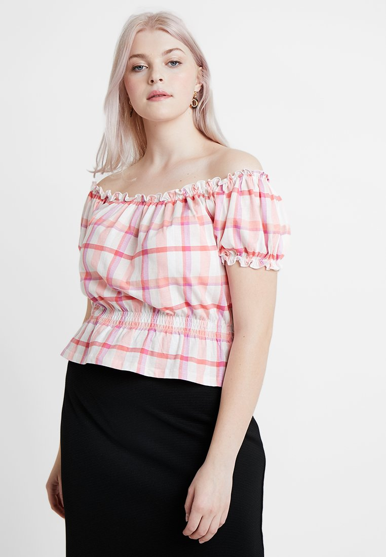 New Look Curves - CHECK MILKMAID - T-Shirt print - pink