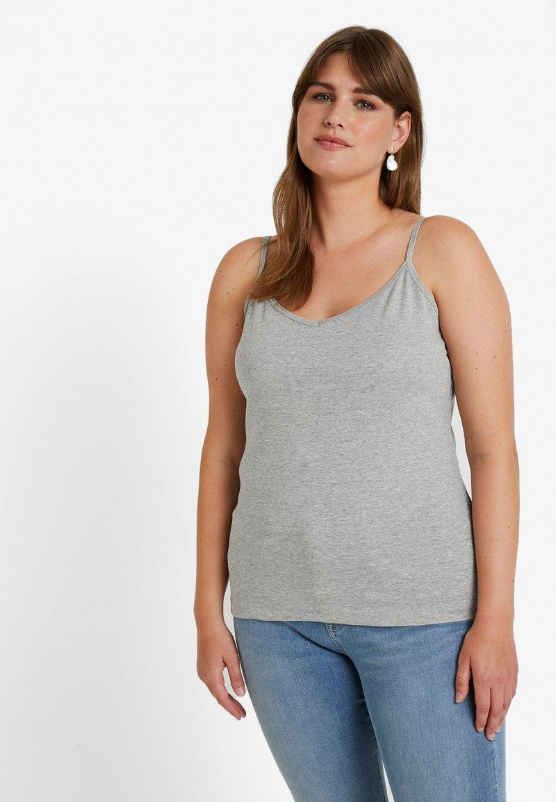 New Look Curves - V NECK SHOESTRING VEST 3 PACK - Débardeur - black/grey/white