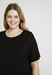 New Look Curves - PEPLUM HEM SLUB - T-shirt print - black - 4