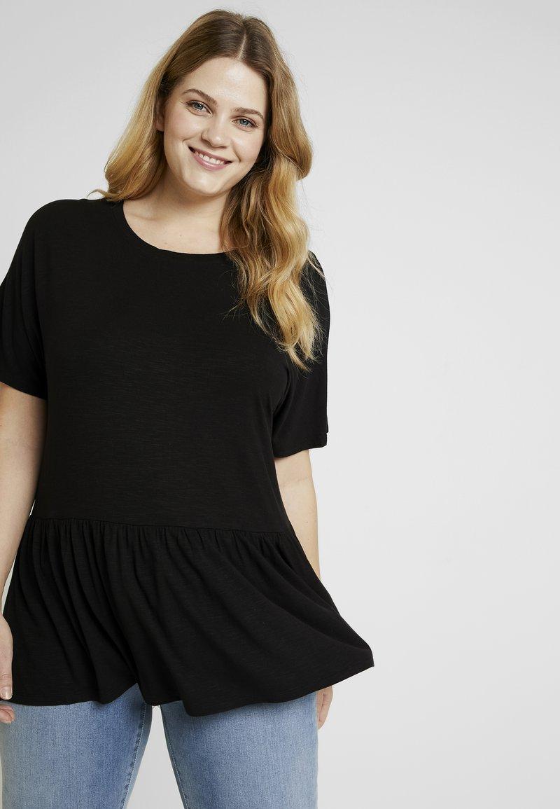 New Look Curves - PEPLUM HEM SLUB - T-shirt print - black