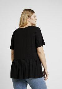 New Look Curves - PEPLUM HEM SLUB - T-shirt print - black - 2