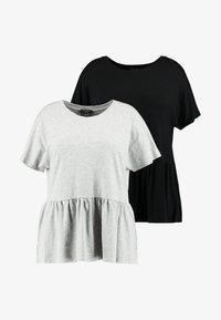 New Look Curves - PEPLUM HEM TEE 2 PACK - T-shirt imprimé - grey - 4
