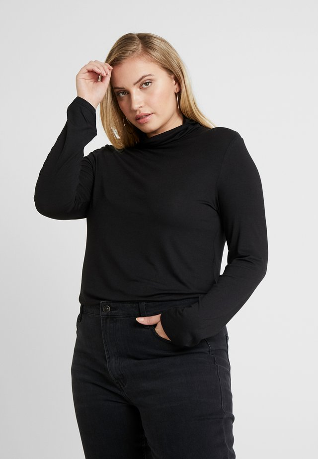 SIDE SPLIT ROLL NECK - Long sleeved top - black