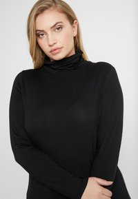 New Look Curves - SIDE SPLIT ROLL NECK - Long sleeved top - black - 3