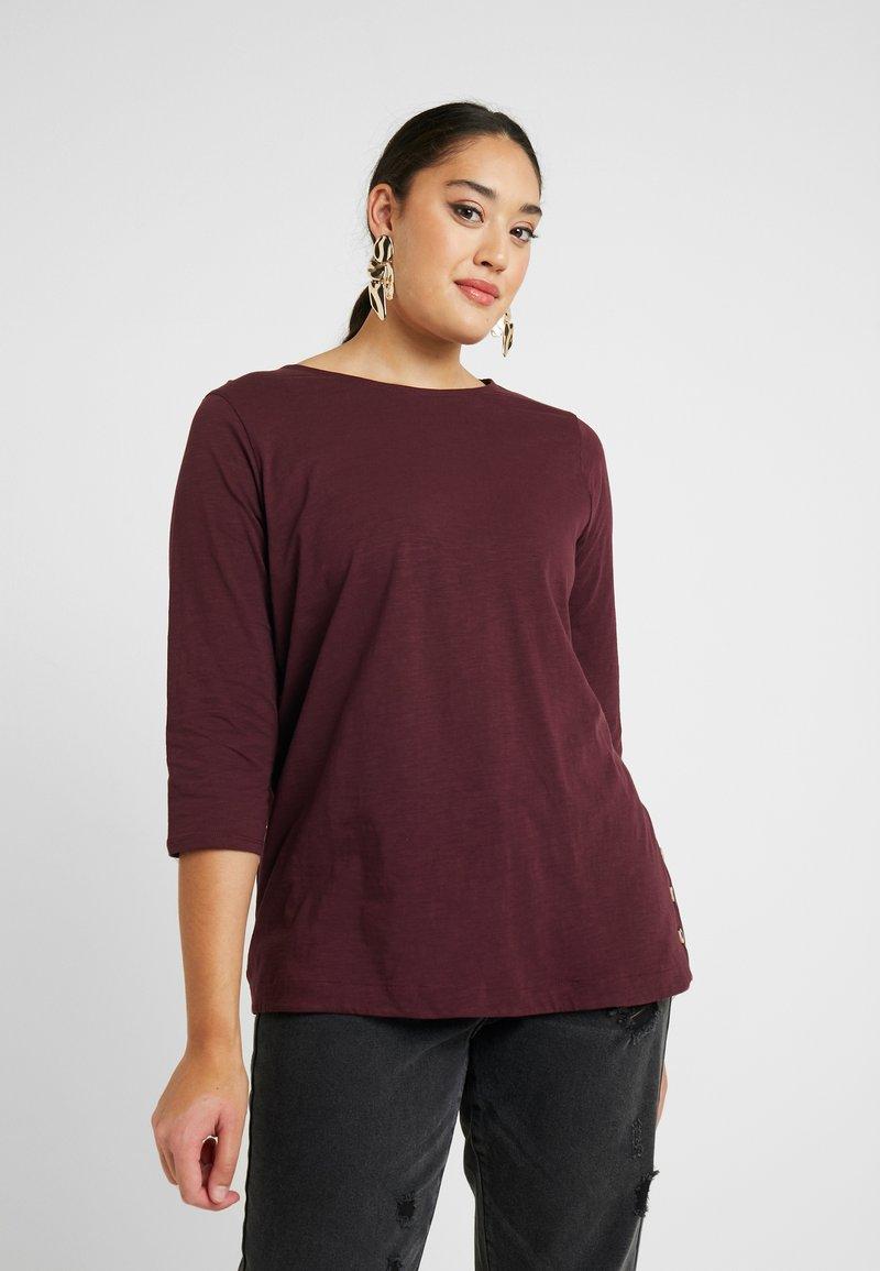New Look Curves - SIDE BUTTON - Top sdlouhým rukávem - dark burgundy