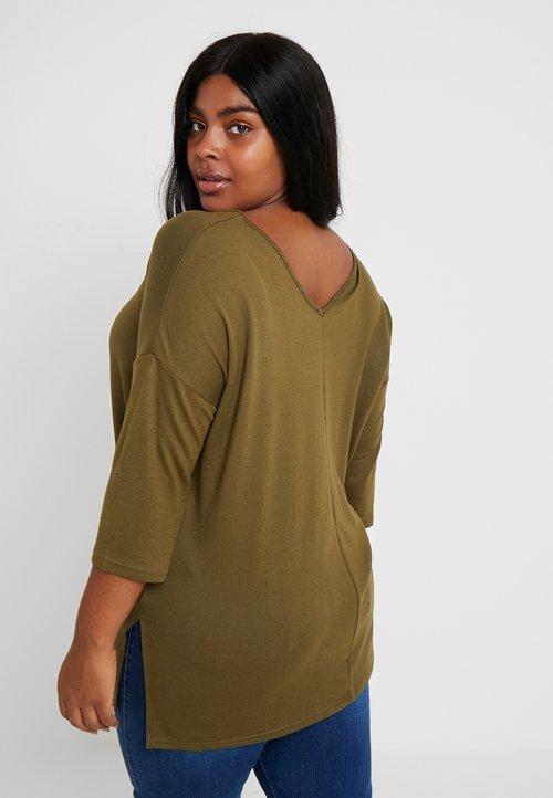 30% OBNIŻONE New Look Curves BELLA V NECK - Sweter - khaki Odzież Damska UBXF-BY7