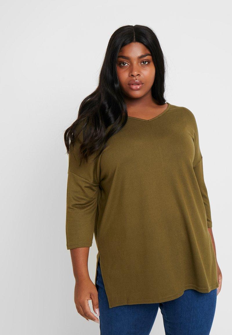 New Look Curves - BELLA V NECK - Jersey de punto - khaki