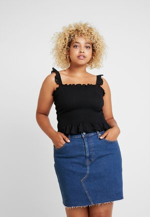 SHIRRED CAMI WITH BRODERIE FRILL - Topper - black