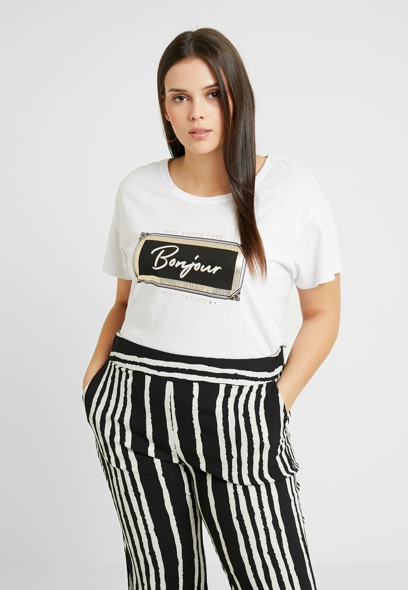New Look Curves - JADORE BOXY TEE - T-shirt imprimé - offwhite