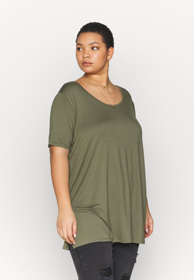 LATTICE BACK TUNIC - Print T-shirt - khaki