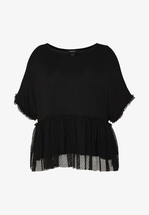 FLOCKED PEPLUM - Print T-shirt - black