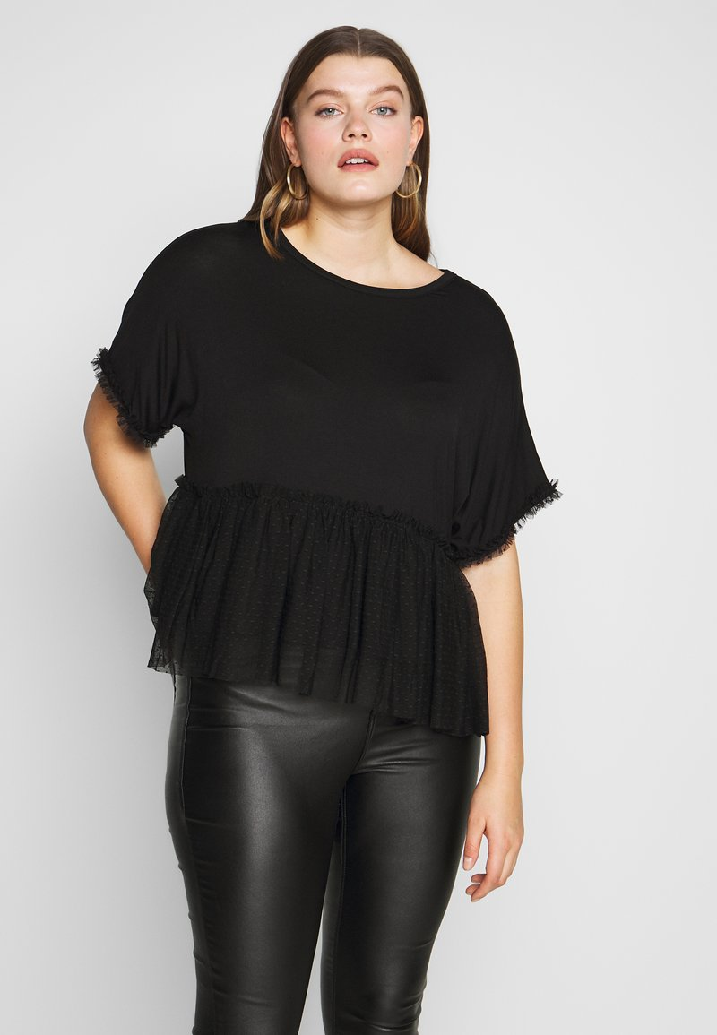 New Look Curves - FLOCKED PEPLUM - Camiseta estampada - black