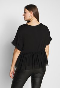 New Look Curves - FLOCKED PEPLUM - Camiseta estampada - black - 2