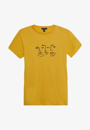 FACE TEE - T-shirt z nadrukiem - dark yellow