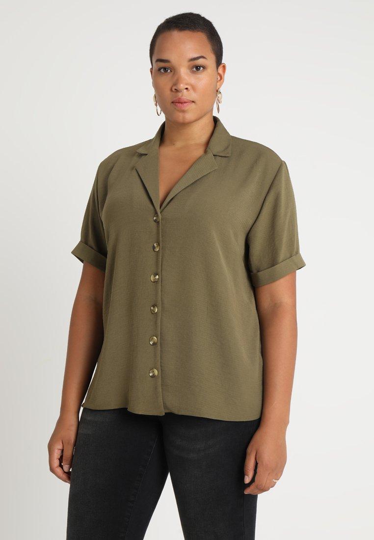New Look Curves - MEGGY CONTRAST - Button-down blouse - khaki