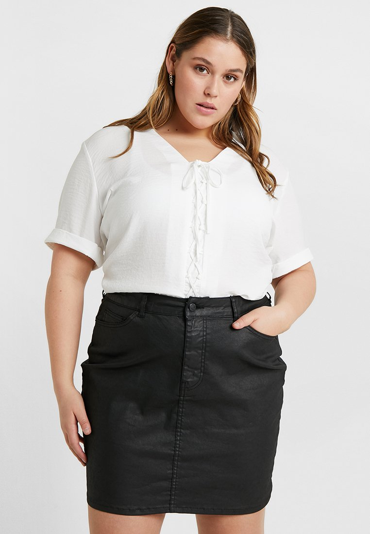 New Look Curves - LACE UP FRONT - Blouse - winter white