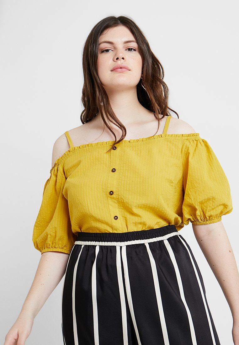 New Look Curves - SELF STRIPE SHOULDER CAMI - Blouse - dark yellow