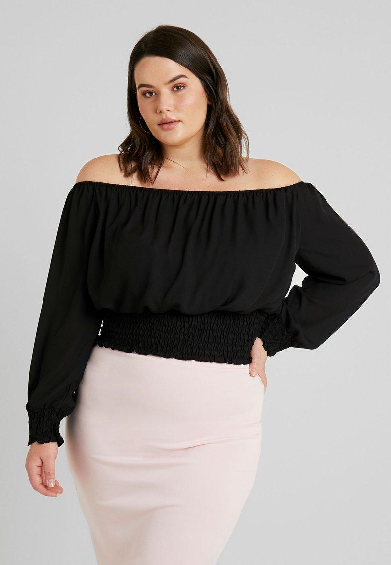 New Look Curves - SUZY SHIRRED HEM BARDOT - Bluse - black