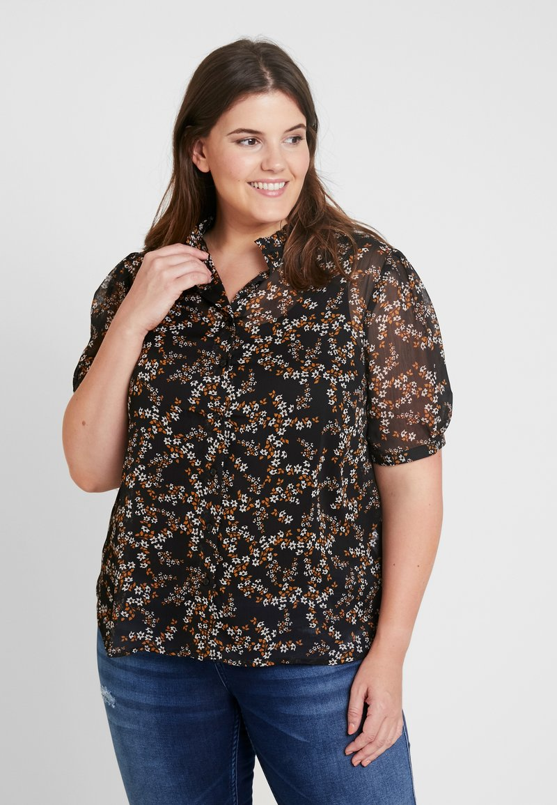 New Look Curves - DITSY PRINT PIE CRUST - Blouse - black