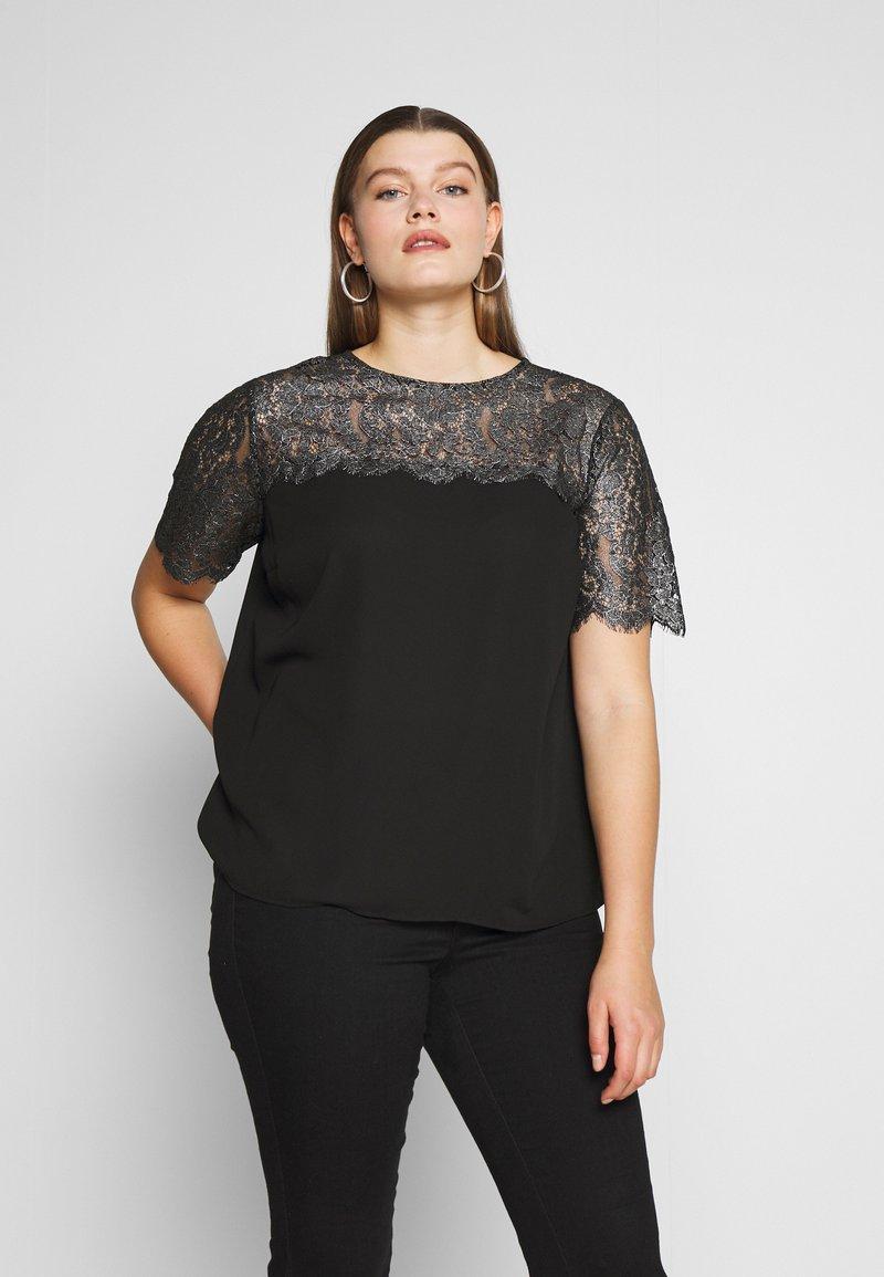 New Look Curves - CURVES LUREX LACE TOP - Blouse - black