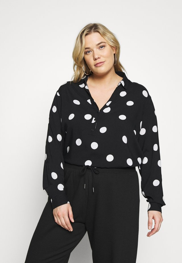 PRINT OHEAD - Button-down blouse - black