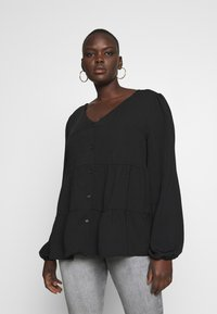 New Look Curves - BROOKE TIERED BUTTON THU - Blouse - black - 0