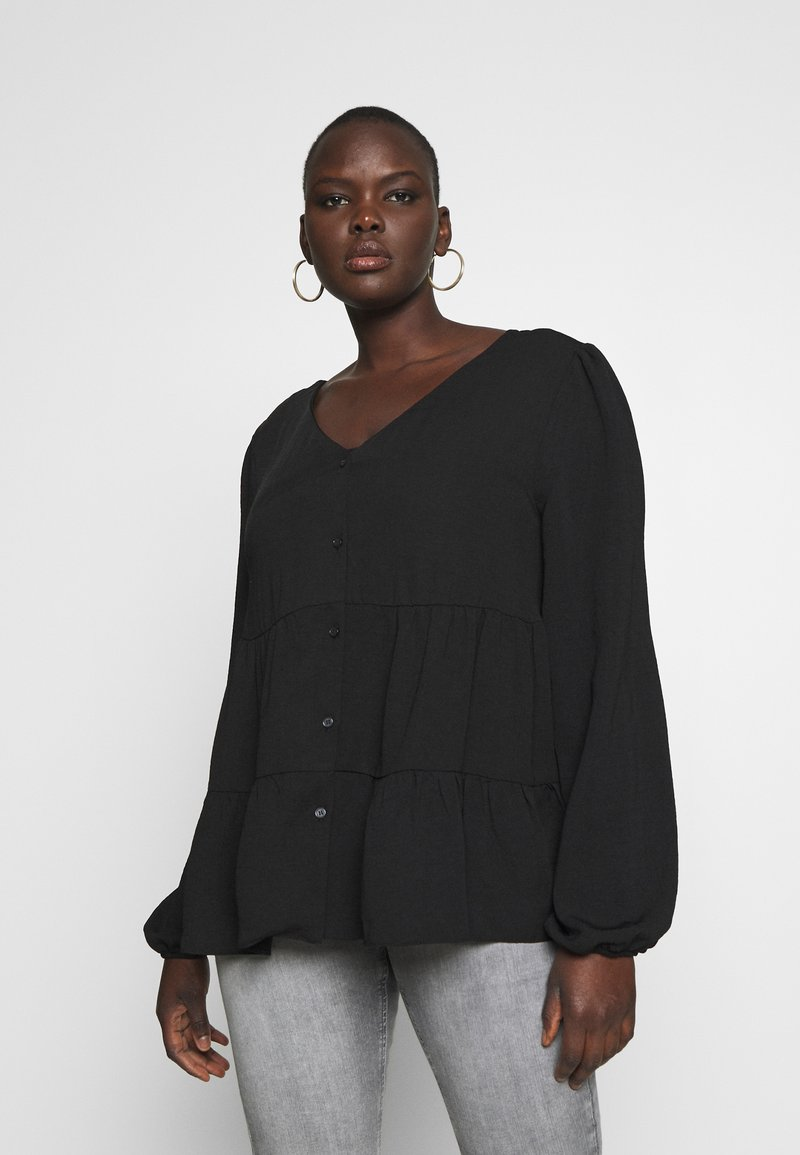 New Look Curves - BROOKE TIERED BUTTON THU - Blouse - black