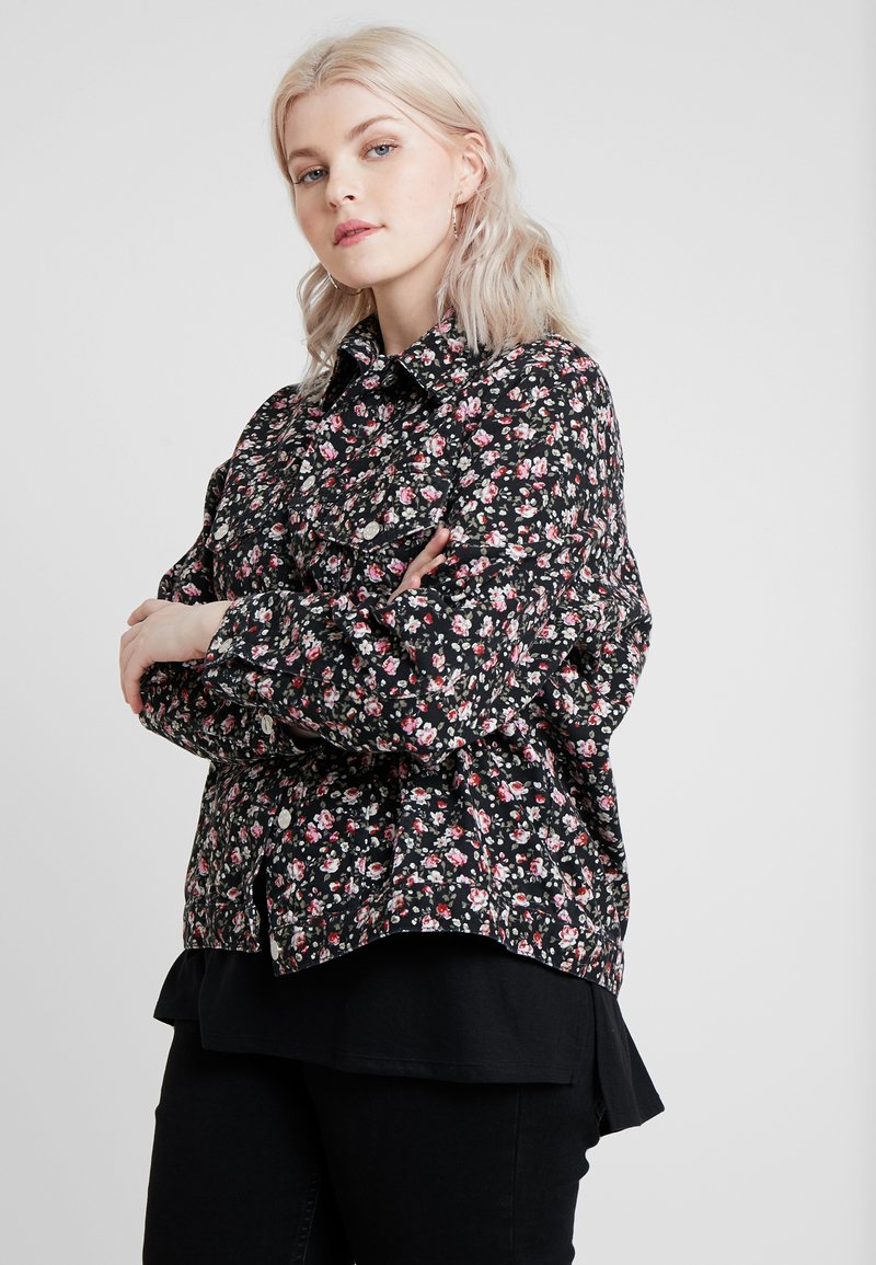 New Look Curves - FLORAL JACKET - Giacca di jeans - black