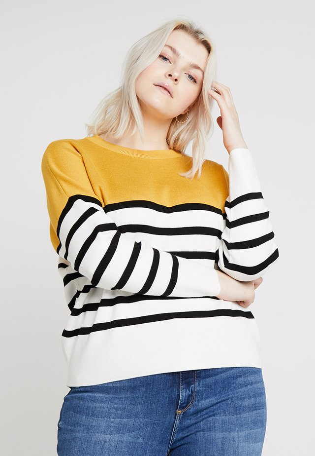 MARIE CLEAN COLOUR BLOCK JUMPER - Trui - orange/yellow patt