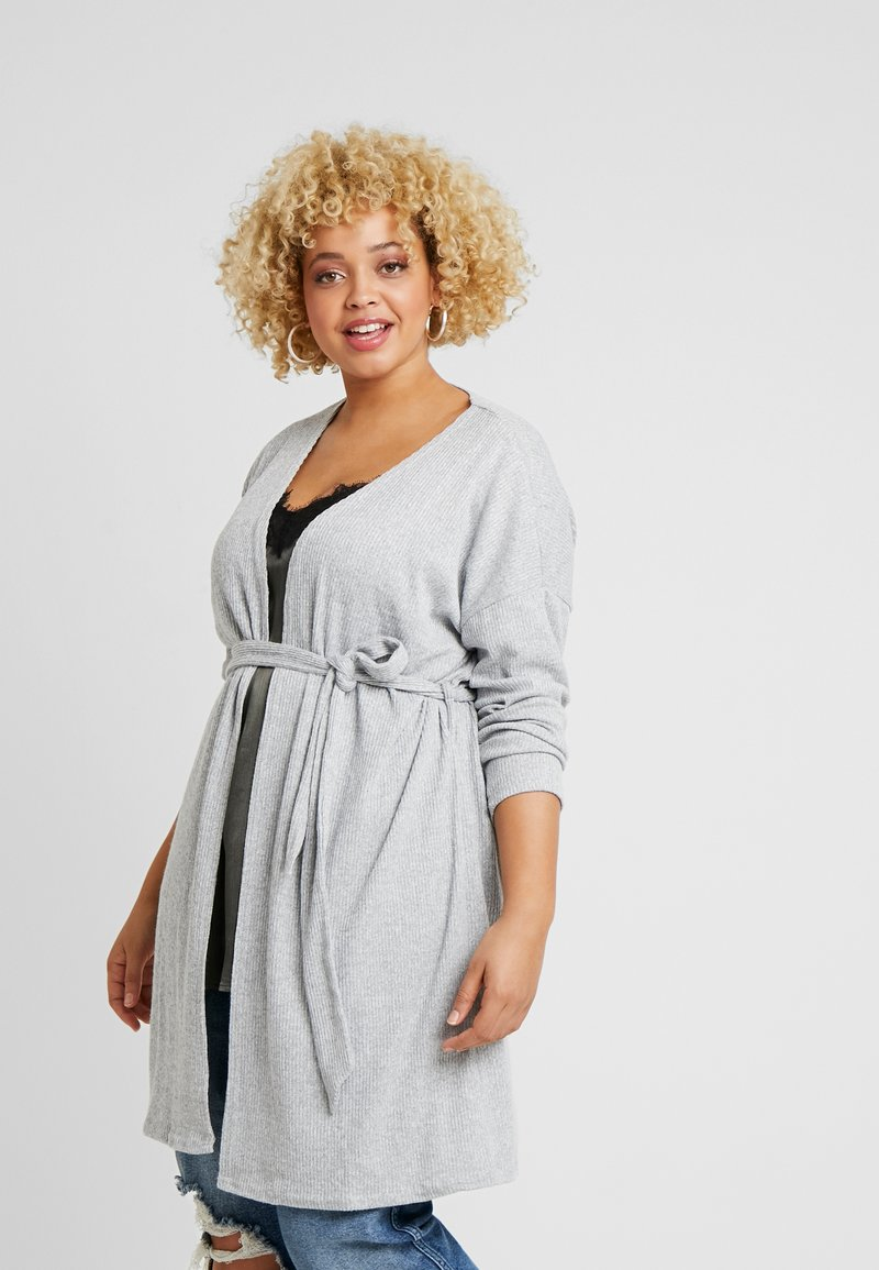 New Look Curves - SELF BELT CARDI - Cardigan - light grey
