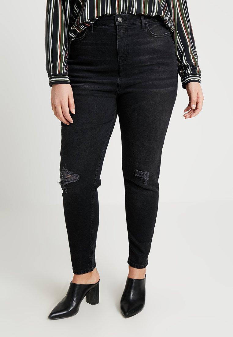 New Look Curves - CURVES RIPPED MOM - Džíny Slim Fit - black
