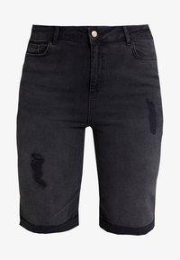 New Look Curves - KNEE - Jeansshort - black - 4