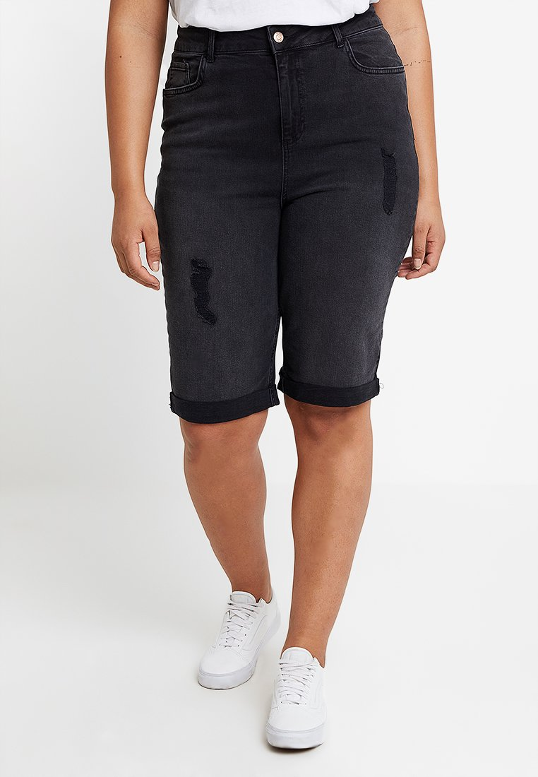 New Look Curves - KNEE - Jeans Shorts - black