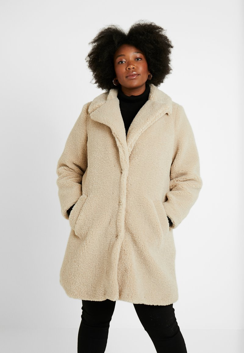 New Look Curves - BORG COAT - Zimní kabát - cream