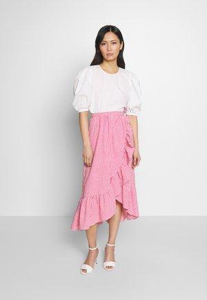 A-line skirt - ecru/lipstick