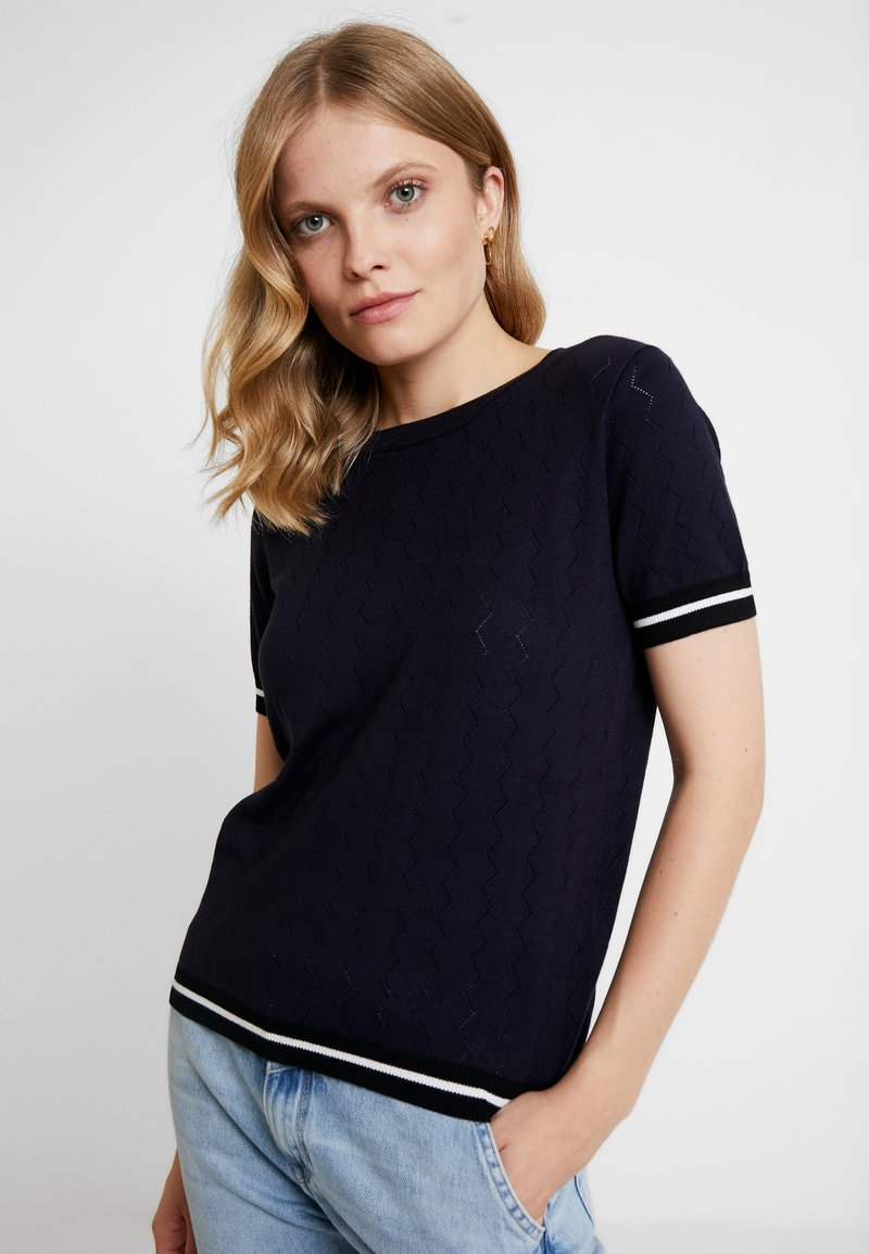 NAF NAF - SAMYMC - T-shirt print - bleu marine/blanc