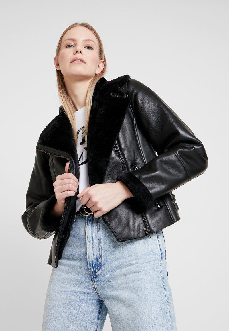 NAF NAF - CLAVA - Leather jacket - noir