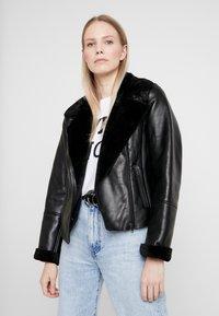 NAF NAF - CLAVA - Leather jacket - noir - 3