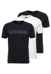 Napapijri - 3 PACK - T-shirts print - black/white/navy - 0