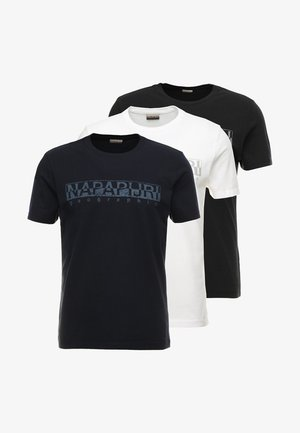 3 PACK - T-shirt med print - black/white/navy