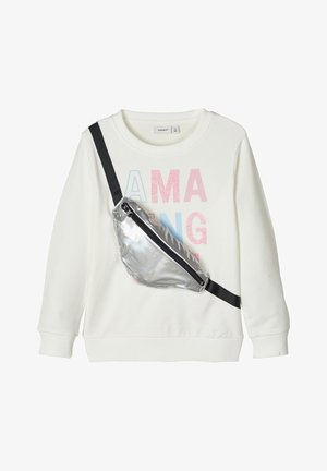 NAME IT SWEATSHIRT GÜRTELTASCHENAPPLIKATION - Sweatshirt - snow white