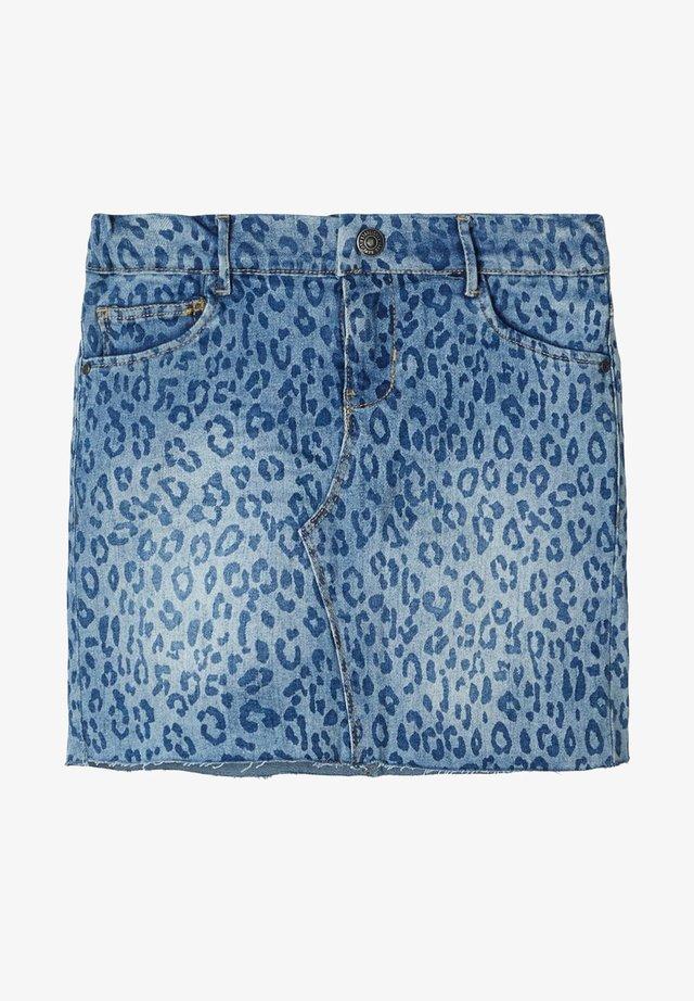 JEANSROCK LEOPARDENPRINT - Gonna di jeans - light blue denim