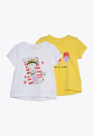 NMFVIOLET 2 PACK - T-shirt print - bright white/primrose yellow