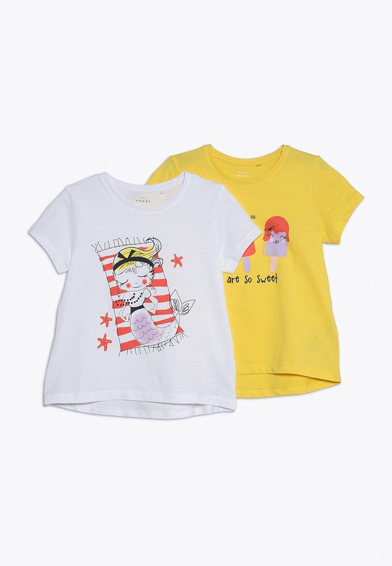 Name it - NMFVIOLET 2 PACK - Print T-shirt - bright white/primrose yellow